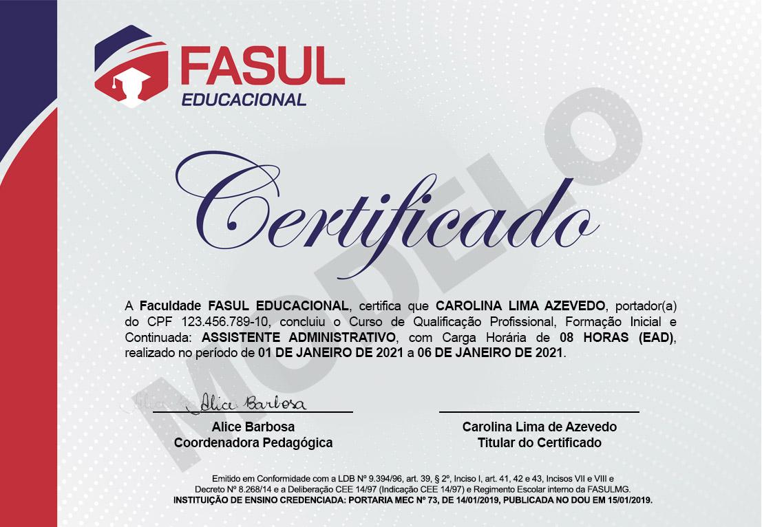 Certificado Fasul Frente