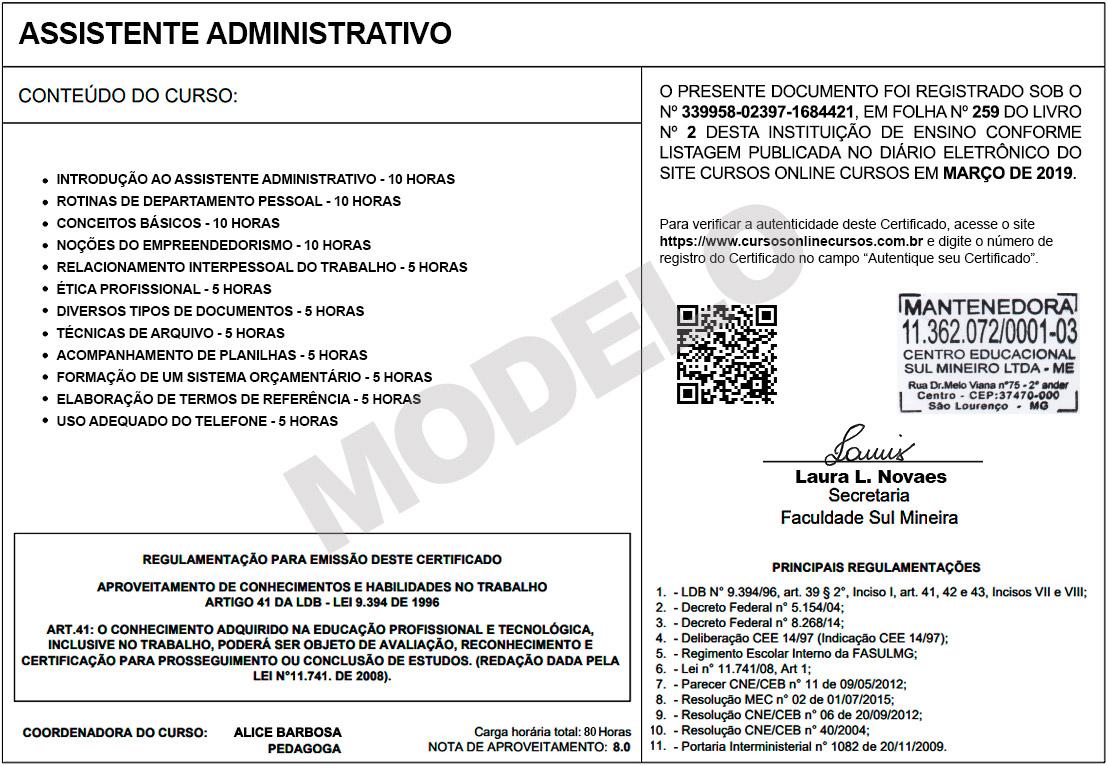 Certificado Fasul Verso